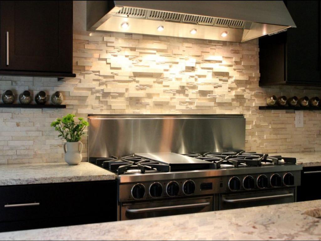 Bon Stunning Cobblestone Backsplash With Lighting Above Stove Also Granite  Countertop Plus Dark Wooden Cabinet