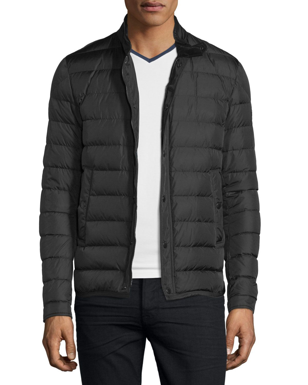 6502c8132 Hanriot Quilted Down Moto Jacket Black | *Outerwear > Coats ...