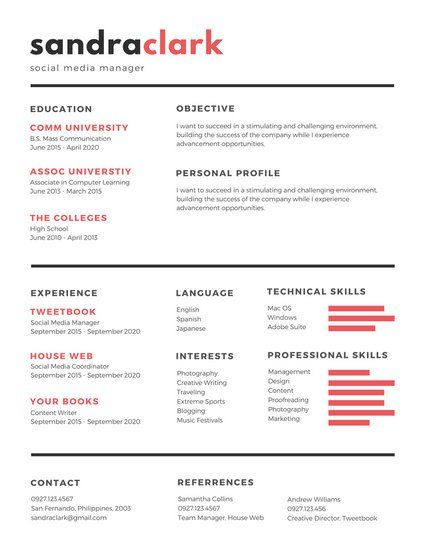 red black social media manager resume - Social Media Manager Resume