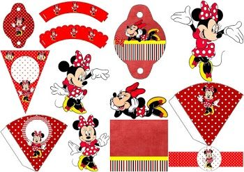 Minnie in Red and Polka Dots: Free Party Printables and Images.