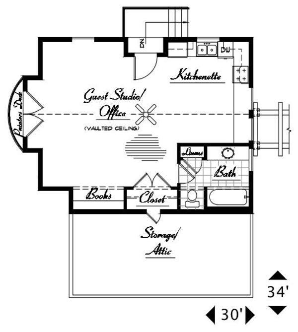 Craftsman Style House Plan - 1 Beds 1 Baths 642 Sq/Ft Plan #487-3