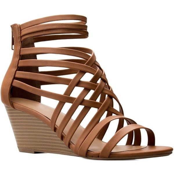 OLIVIA K Women's Strappy Woven Wedge Sandals Sexy Open Toe Heel... (1.470 RUB) ❤ liked on Polyvore featuring shoes, sandals, sexy open toe shoes, wide fit sandals, sexy strappy shoes, sexy shoes and wide shoes