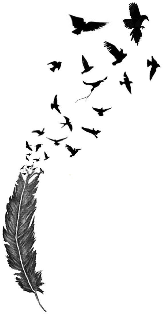 efa8455d63079 feather tattoo with birds   Birds of a feather temporary tattoo on Wanelo  Body Art Tattoos