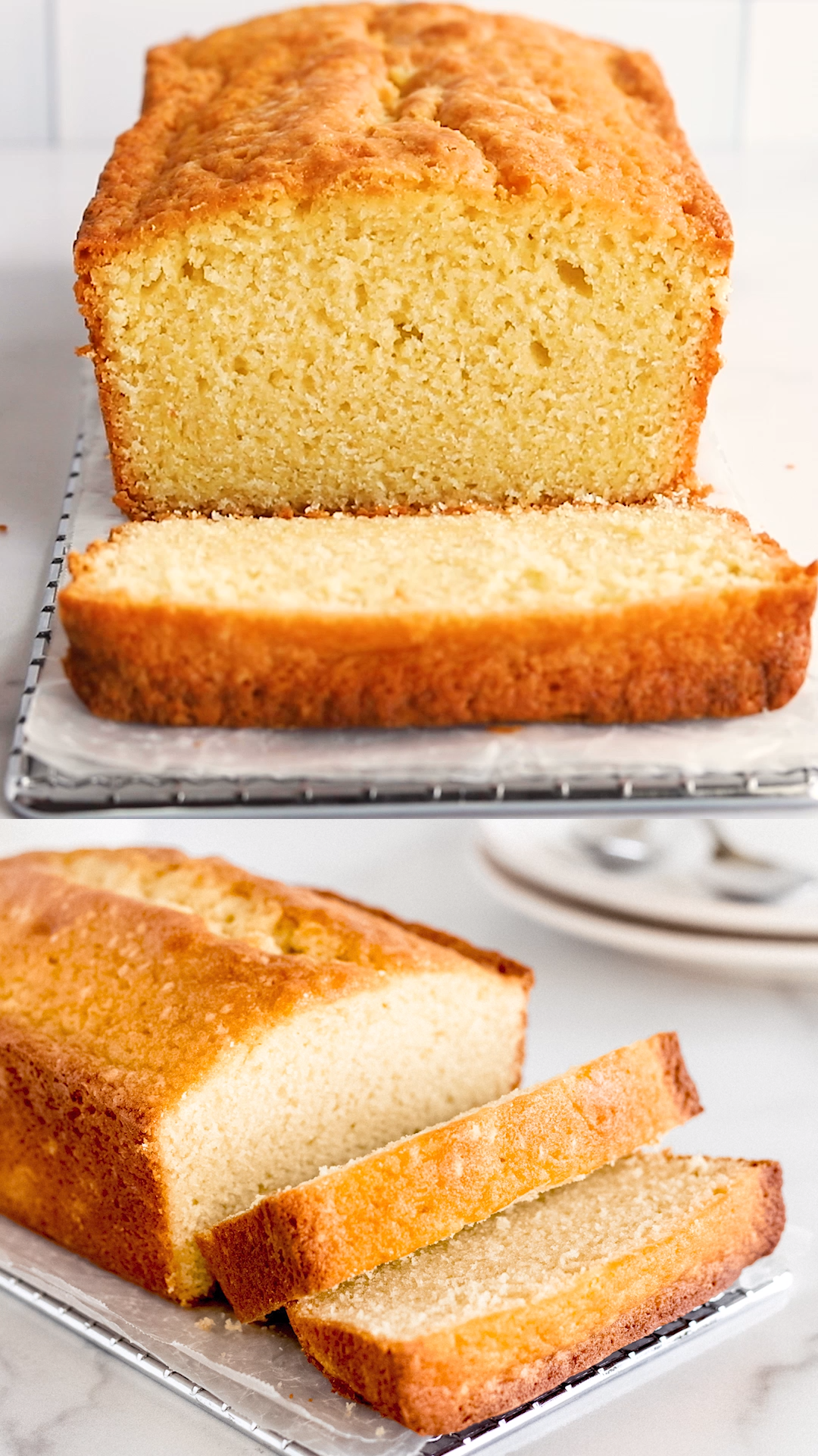 Cream cheese pound cake is made in a loaf pan with cream cheese, butter, eggs, sugar and flour. The cake's moist, dense texture makes for a delicious dessert.