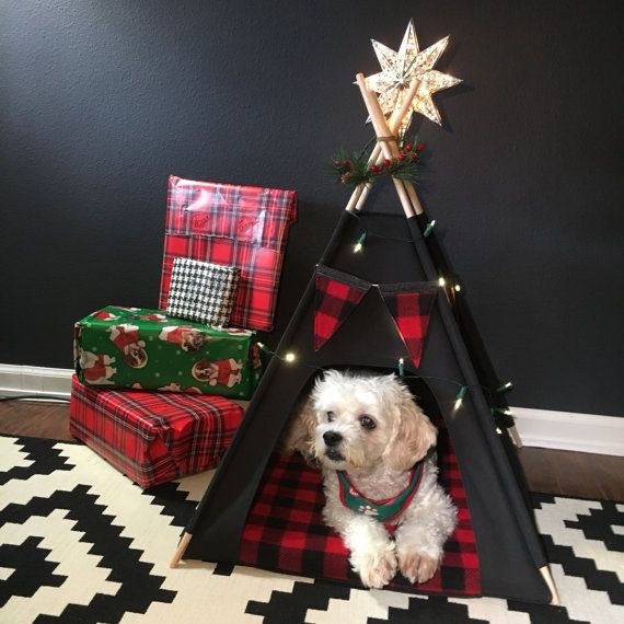 Cat/Dog Tent Pet Teepee Small 24 base Black by VintageKandyLiving & Cat/Dog Tent Pet Teepee Small 24 base Black by VintageKandyLiving ...