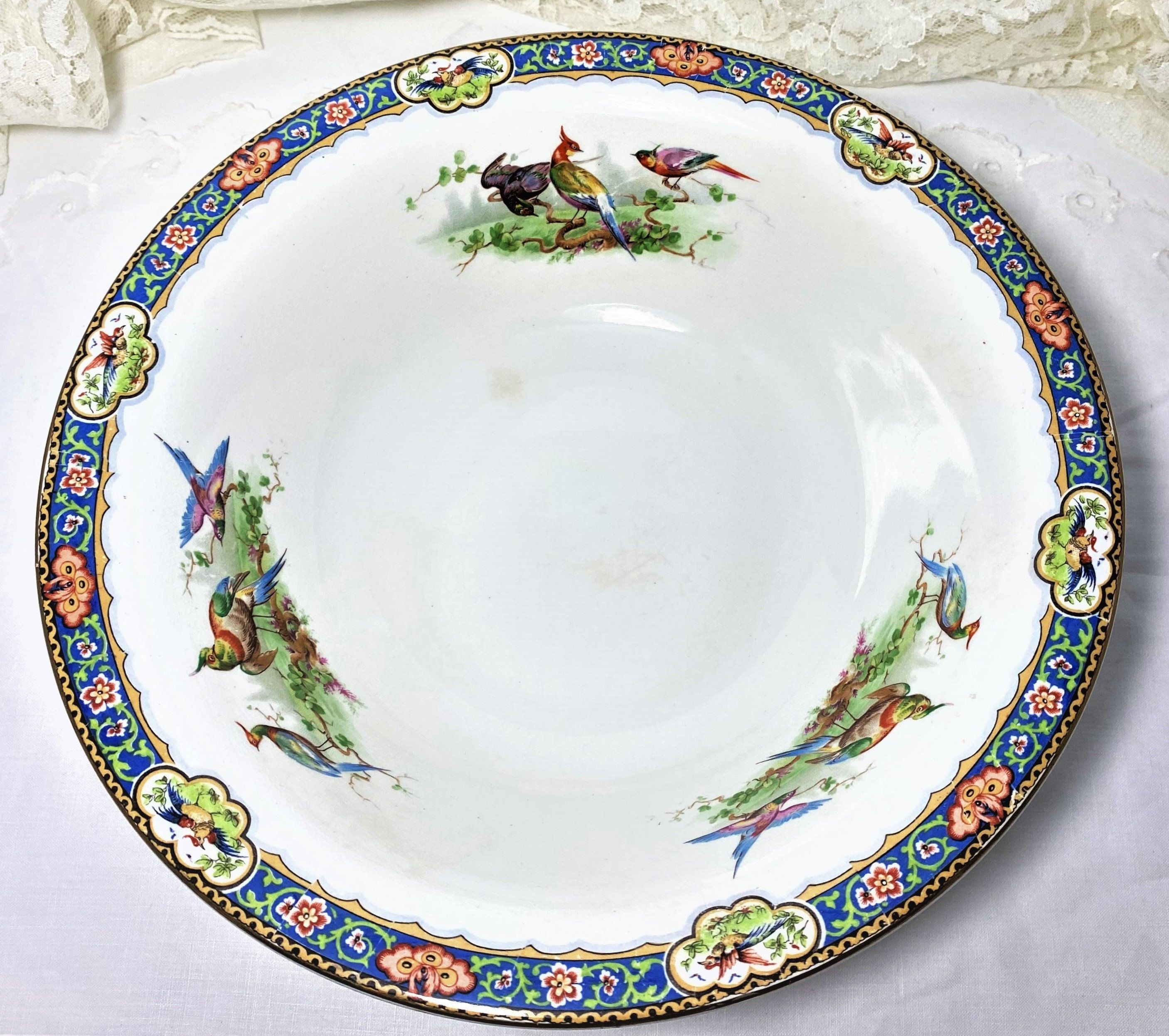 Made in Germany Filigree Plate Shabby Chic Reticulated Plate Ornate Schumann Decor Plate with Lots of Colorful Flowers