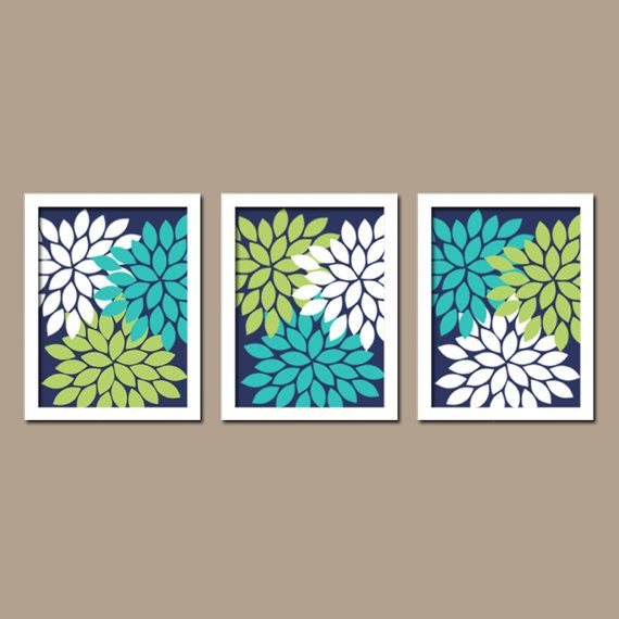 Turquoise Navy Blue Lime Green Custom Colors Flower Burst Dahlia Petals Artwork Set Of 3 Trio