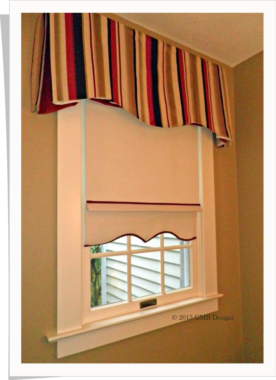 living room window valance ideas%0A Inverted boxpleat boardmount valance with rollup shade