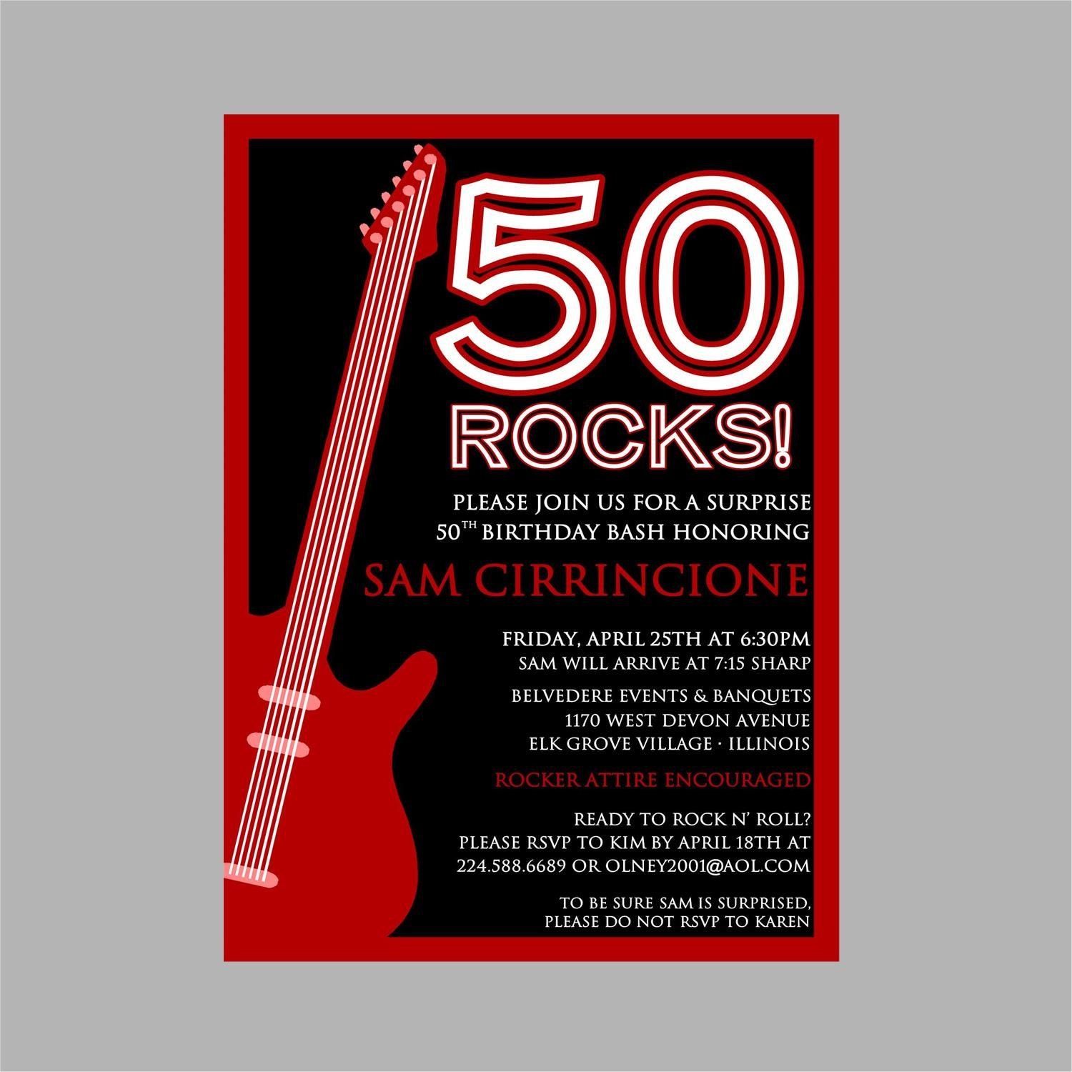 50th Birthday Rock N\' Roll Party Invitation | Party ideas ...