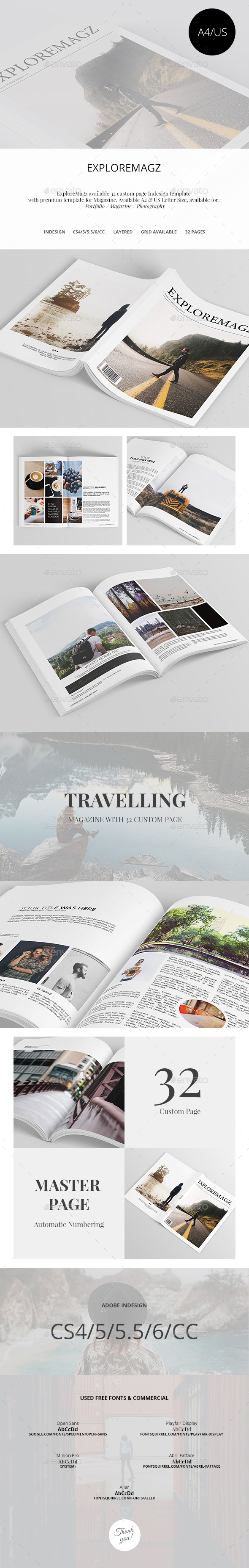 Exploremagz Magazine Template InDesign INDD #design Download ...
