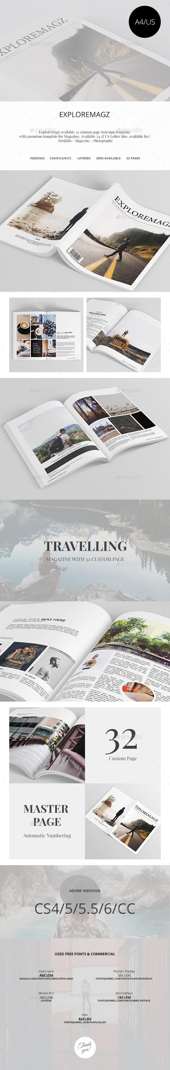 Exploremagz Magazine Template InDesign INDD #design Download: http ...