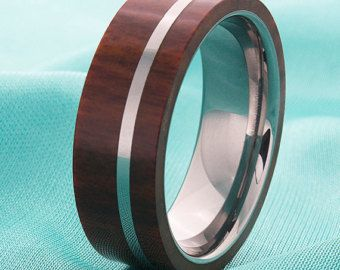 Mens Tungsten Wood Inlay Wedding Ring Band Fashion