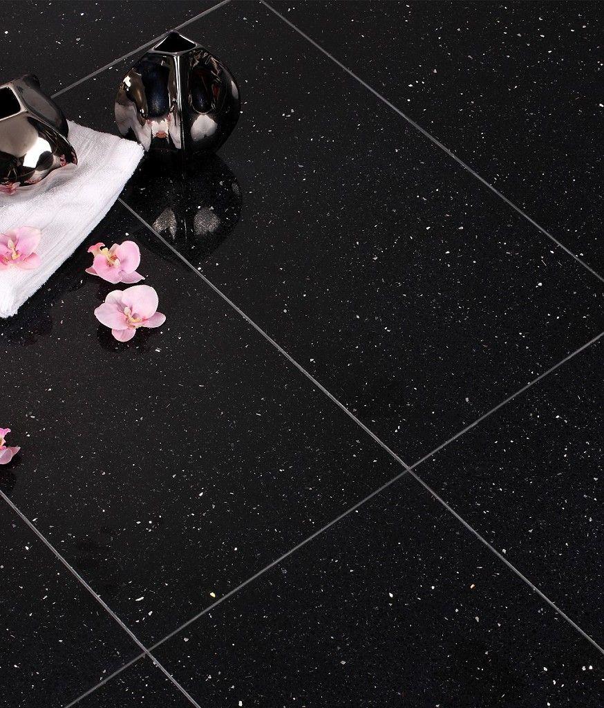 Starluxe Black Tile 30cm X 60cm Black Tiles Black Quartz Tiles Quartz Tiles