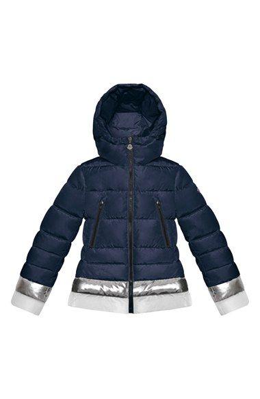 5cb74c299 Moncler 'Manon' Metallic Stripe Water Resistant Hooded Down Jacket ...