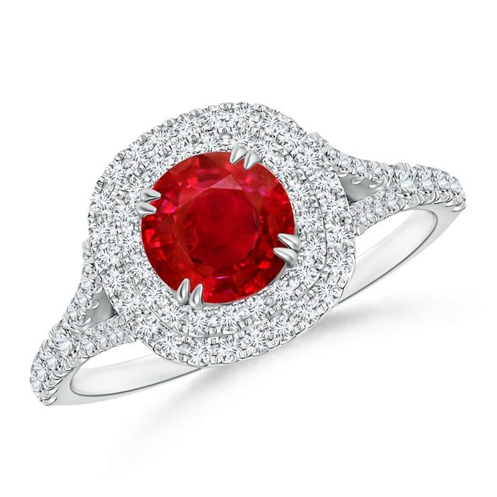 Angara Secured Prong Ruby and Diamond Double Halo Ring in Yellow Gold 42A4DWqt