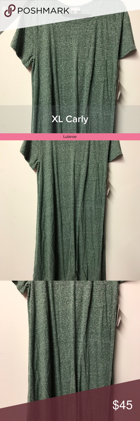 NWT Lularoe Carly Dress XL Green White All of my items in both my Closet and Boutique come from a smoke free and pet free environment. Pre-owned items are only owned by one owner which is me. All items listed as EUC mean they have been worn once or twice and laundered by the instructions per each garment. I love to shop and have lots of kids but they can't wear everything before they grow out of it! 😊 LuLaRoe Dresses