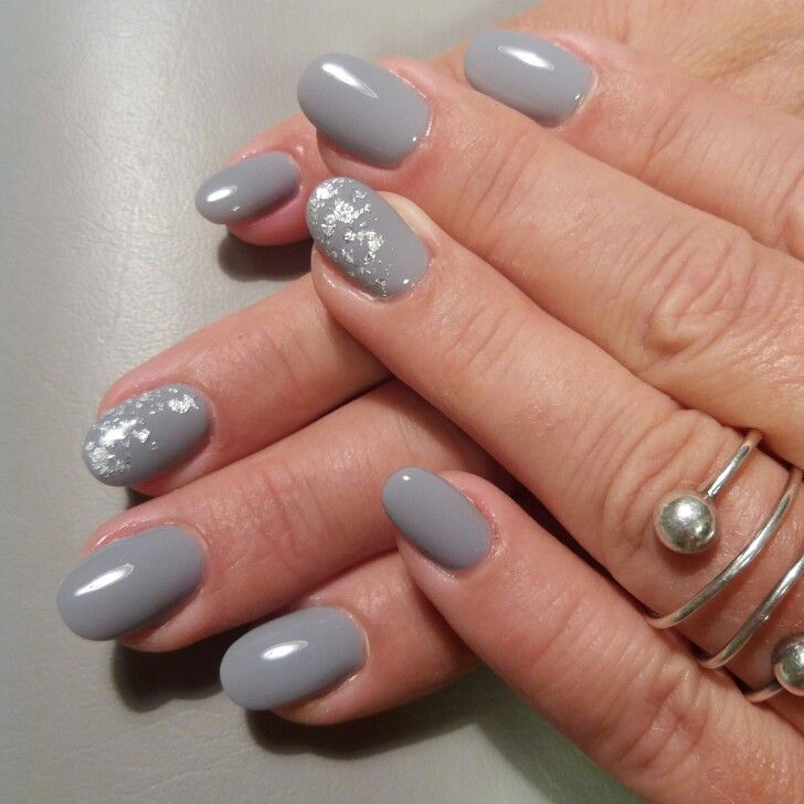 Gray Gel Nails With Silver Foil