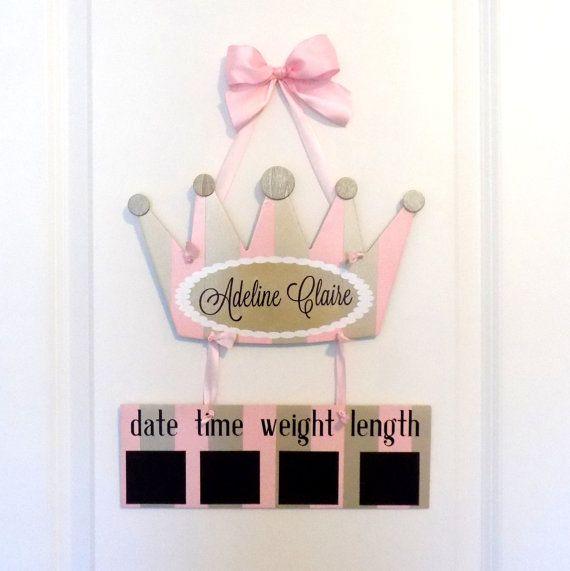 Princess Hospital Door Hanger Welcome Baby Girl by OliveYewToo & Princess Hospital Door Hanger - Welcome Baby Girl Blush \u0026 Gold ...
