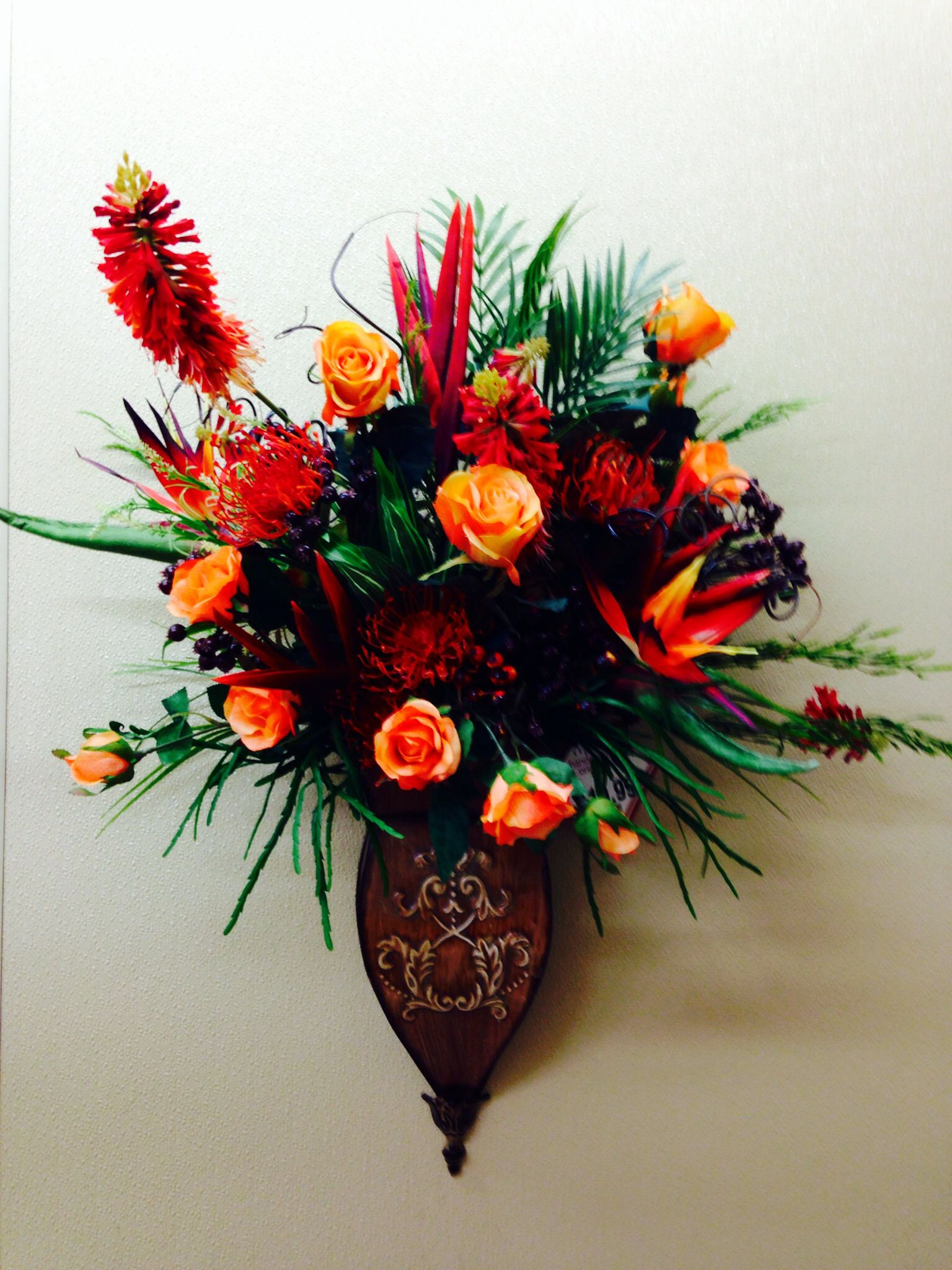 Tropical SBA wall sconce | Floral arrangements, Michael ... on Wall Sconce Floral Arrangements Arrangement id=63280
