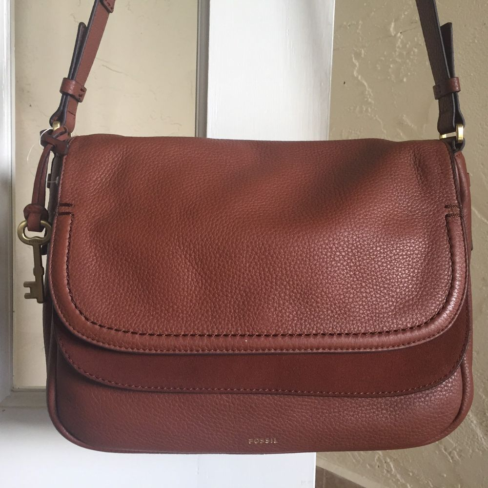 62882d275ec Fossil Peyton Large Double Flap Crossbody Bag ZB7101 Brown Leather $228 # Fossil #MessengerCrossBody