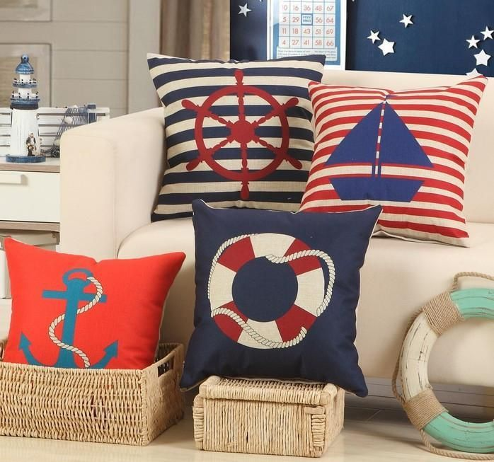 Navy Red Nautical Throw Pillow Covers 40 Patterns Coastal Amazing Nautical Decorative Pillow Covers