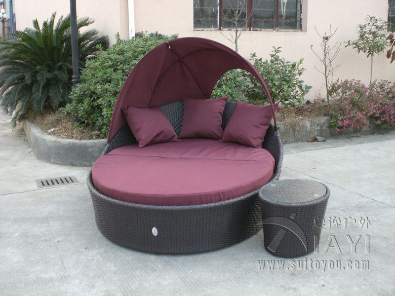 Beach Dark Brown Wicker Daybed , Aluminium Frame Wicker Oval Bed - Daybed Images