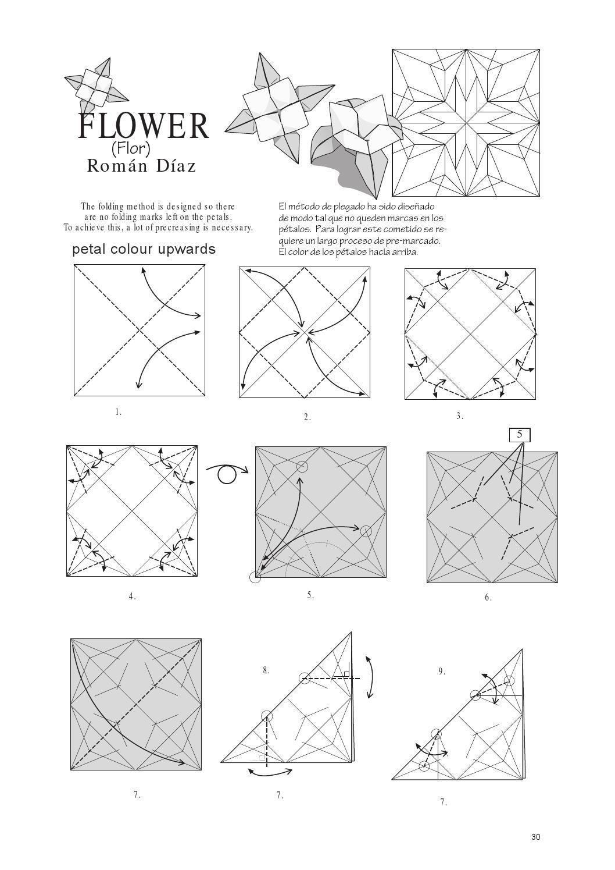 N5 4esquinas Origami Pinterest Flowers And Diagrams Flor Cube Craft Items Diagram Kirigami Quilt Blocks