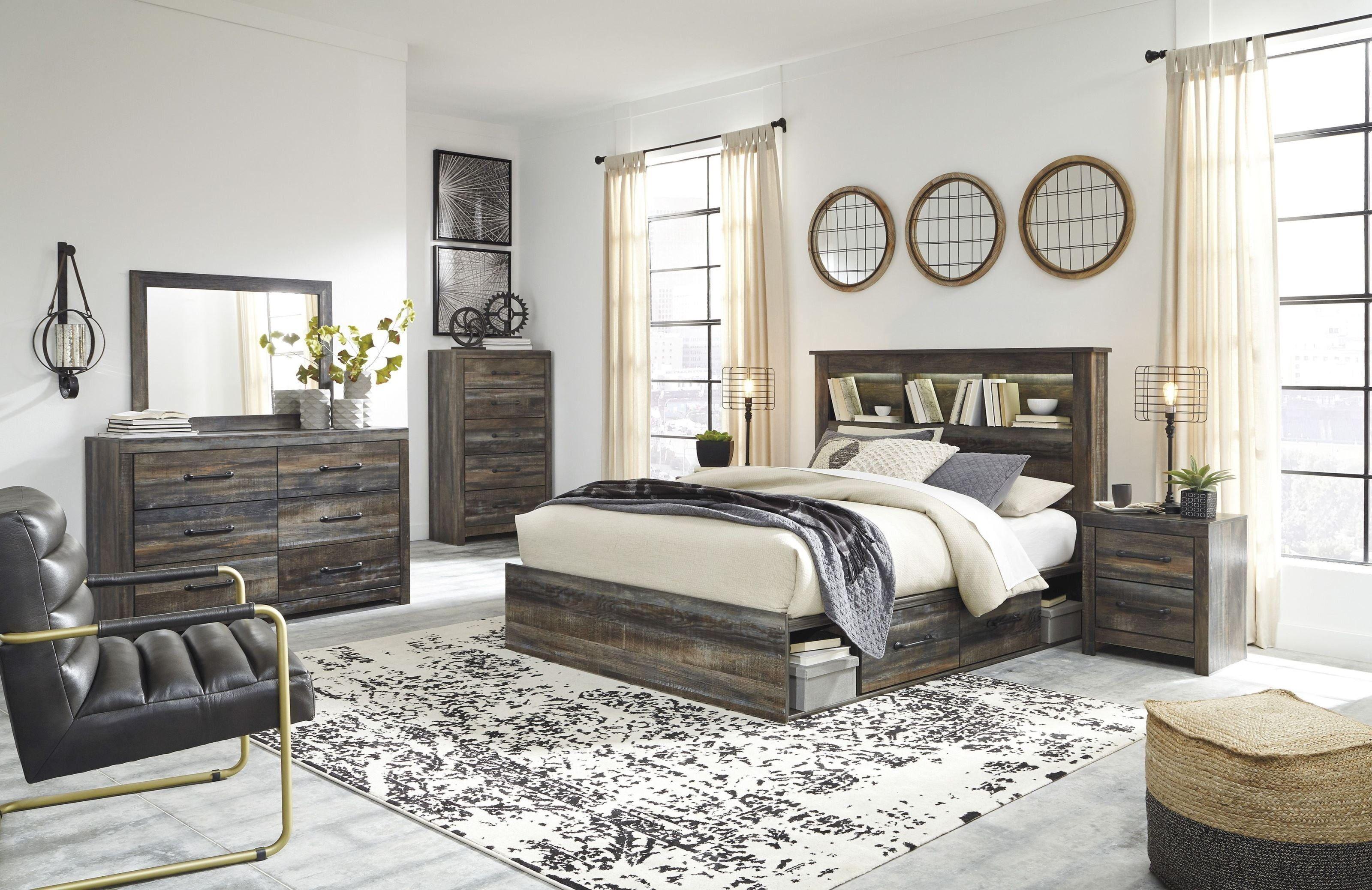 Drystan Multi Bookcase Panel Bedroom Set with Side Storage