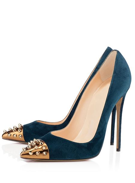 73239fee9124 OMG Women s Blue Pointed Toe Rivets Stiletto Heels Pumps Shoes  shoes   fashions