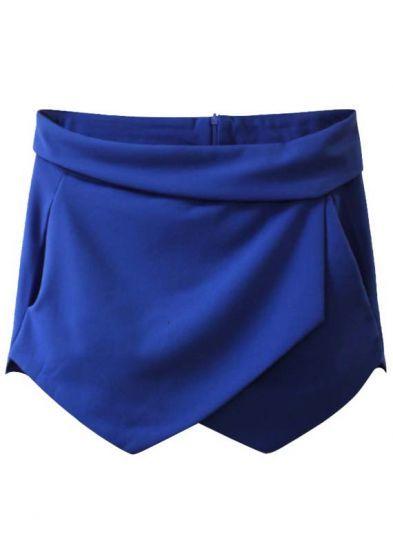 Blue Flange Split Zipper Shorts pictures