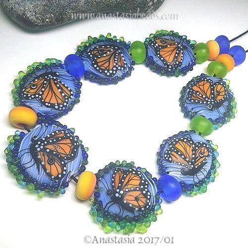 ANASTASIA-handmade-lampwork-beads-7-034-MONARCH-BUTTERFLIES-034-SRA