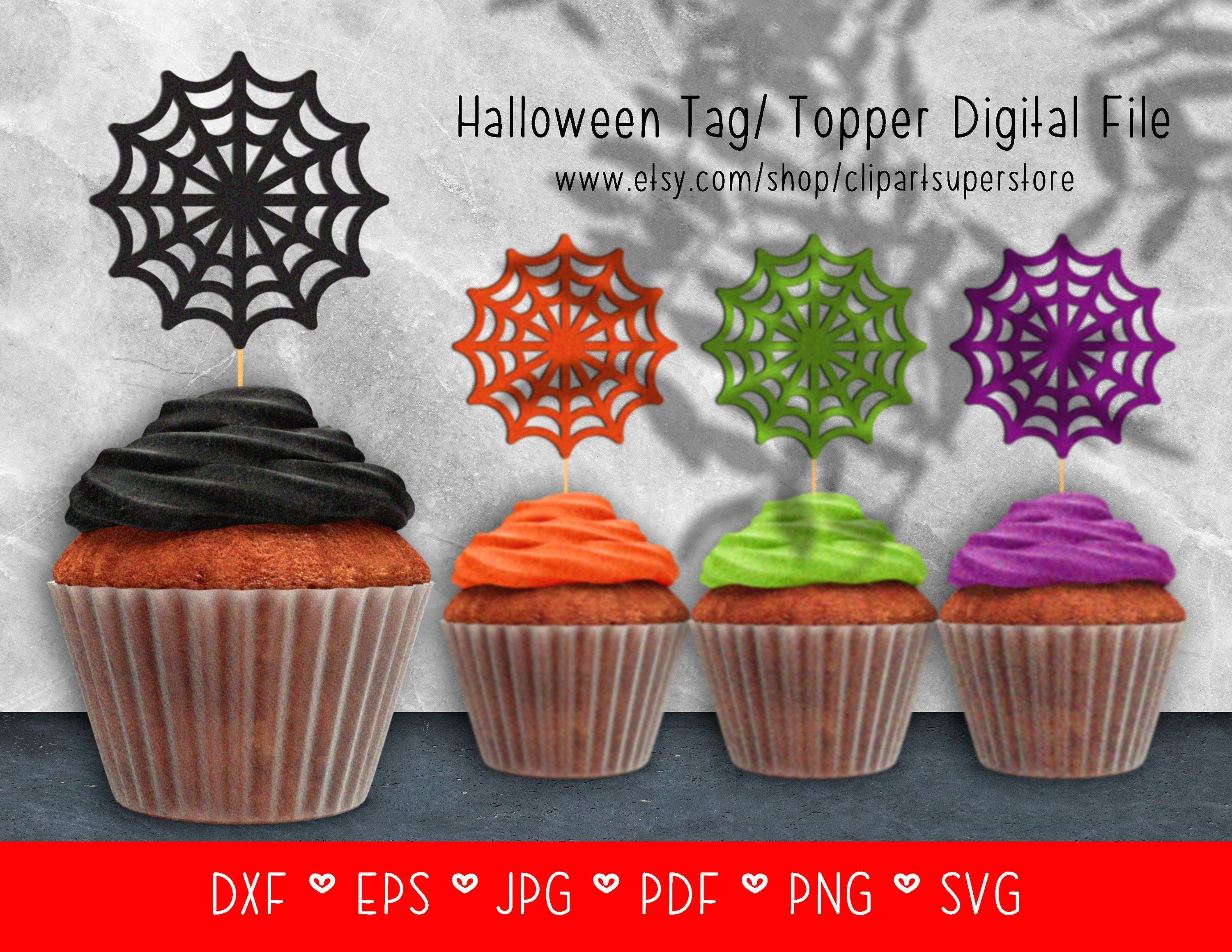 Halloween Spider Web Tag Cupcake Topper SVG EPS Instant