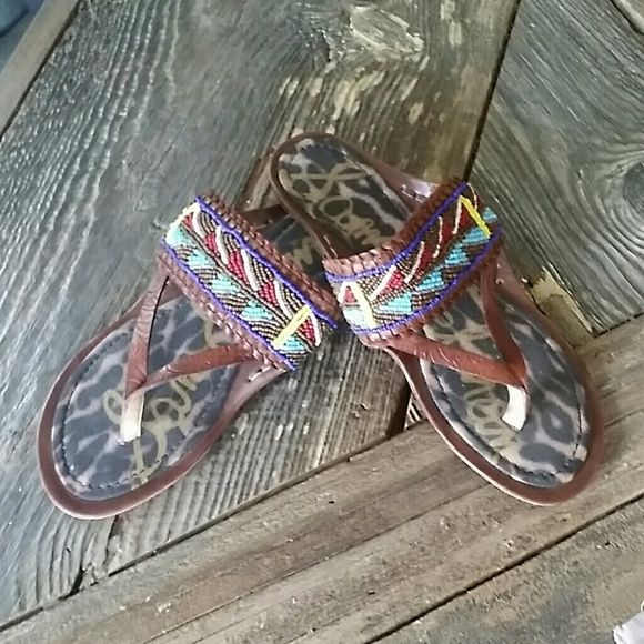Sam Edelman beaded leather sandal Super fun and cute summer staple. Looks Greta with jeans, shorts and dresses. Very minimal wear. Sam Edelman Shoes Sandals