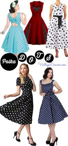 213cbb9d2009 Vintage Polka Dot Dresses - 50s Spotty and Ditsy Prints in 2019 ...