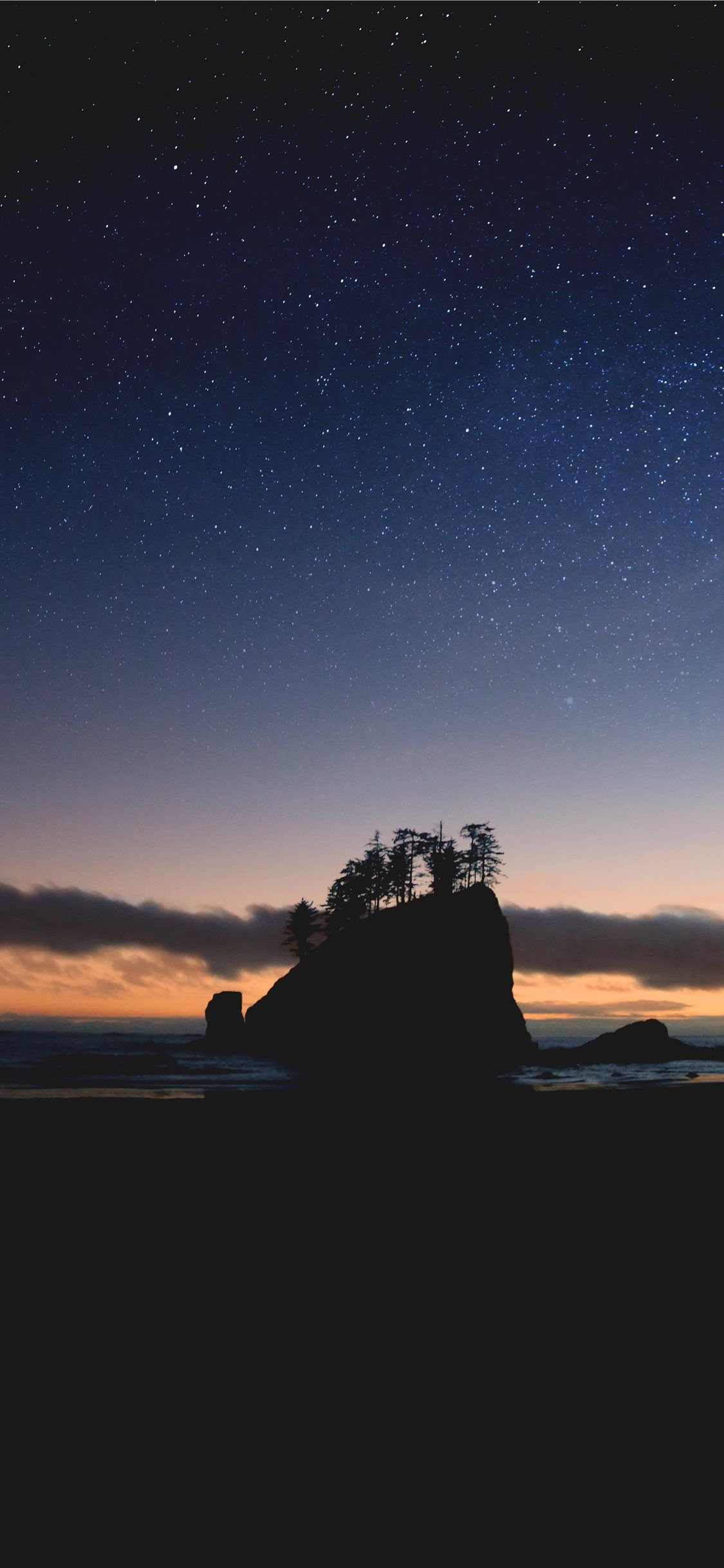 Silhouette Of Island Nature Space Sunset Stars Beach Usa Iphone Wallpaper Travel Amazing Hd Wallpapers Mobile Wallpaper