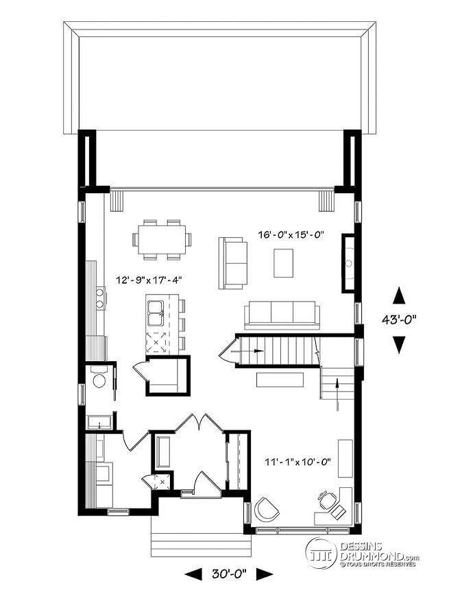 Plan Buanderie plan de rez-de-chaussée plan contemporain 3 chambres, îlot & garde