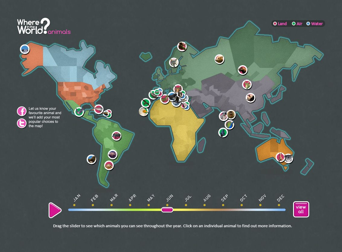 Where in the world interactive wildlife destination map infographics where in the world animals gumiabroncs Images