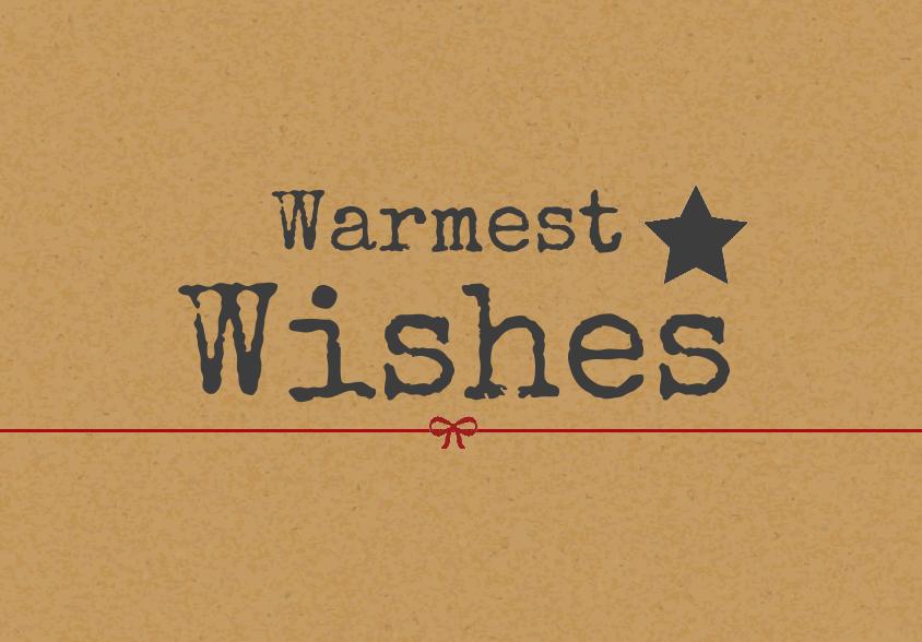 Kerstkaarten Warmest wishes op karton voorkant Kerst