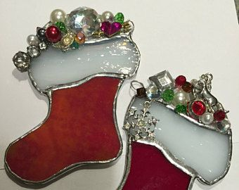Kamillaartstore Red Wht Design Stained Glass Christmas Tree