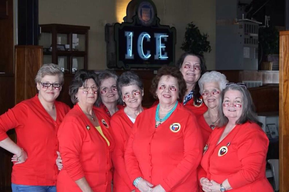 GO RED  Magnolia Dist. Executive Committee, GFWC Texas  Helen Lamberth, Joan Pate, Emily Holt, Sue Johnson, Linda Lang, Shari Gunter, Mary K Muckleroy and DP Billie Williams.   Silsbee Ice House Museum