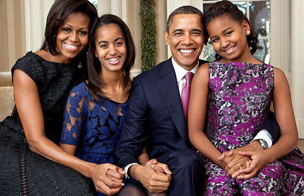 Michelle, Malia, Barack, and Sasha Obama