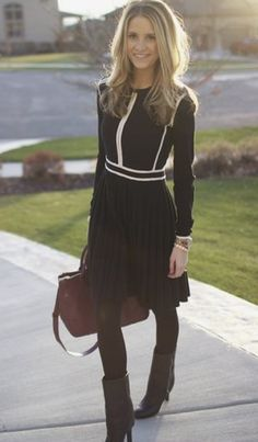 Black chiffon work dress for winter to spring work wear! Black boots and accents.
