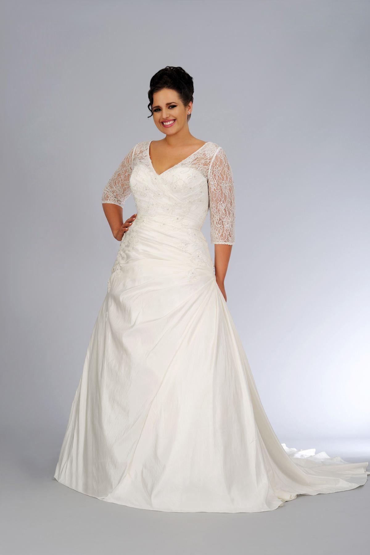 Shop Beautiful Plus Size Wedding Dresses A Line V Neck Court Train Satin Online Affordable For Big Discount
