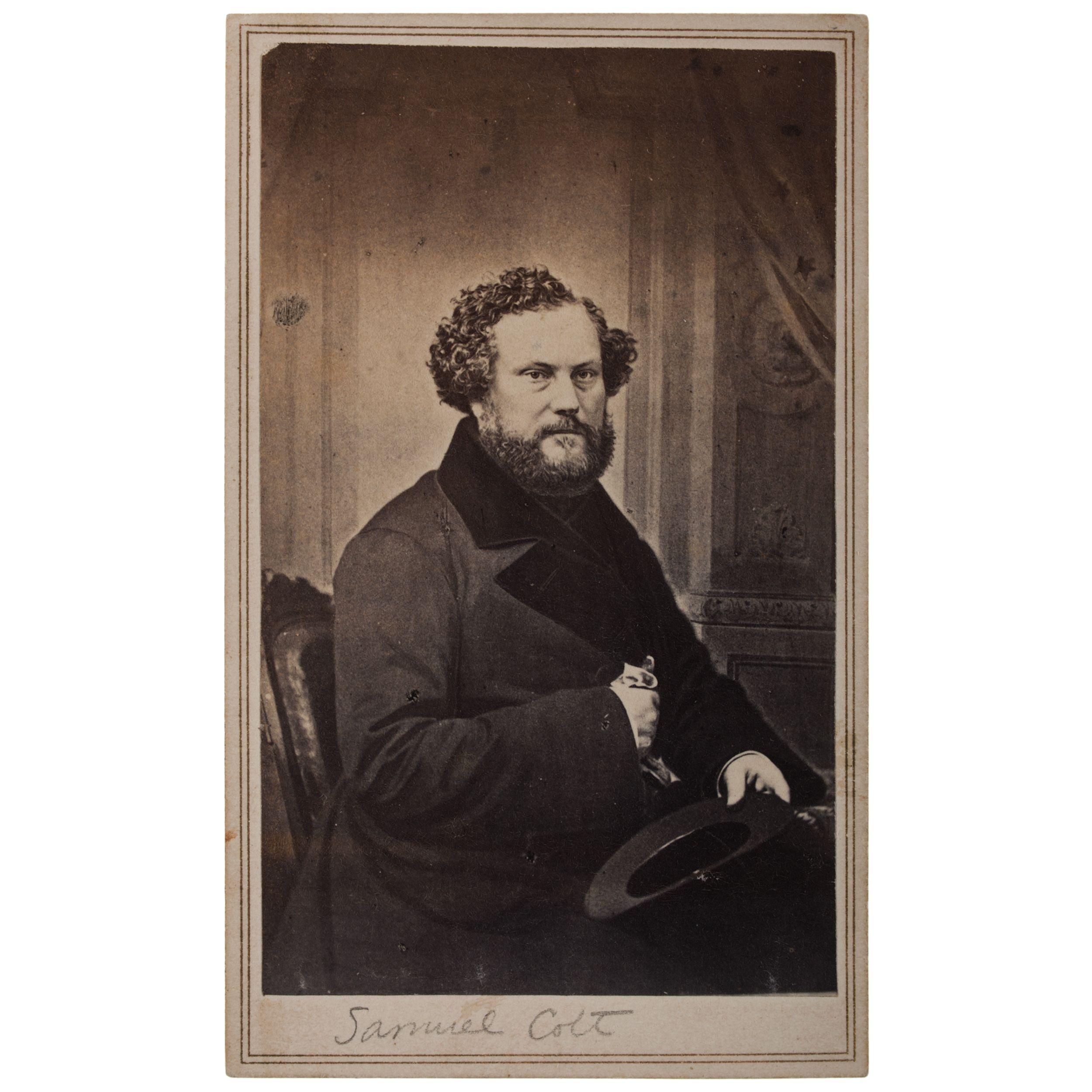 Carte De Visite Of Samuel Colt 1814 1862 Firearms Innovator And Industrialist