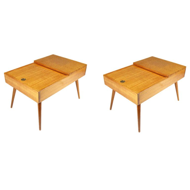 John Keal Side Tables for Brown Saltman Pair 1stdibs