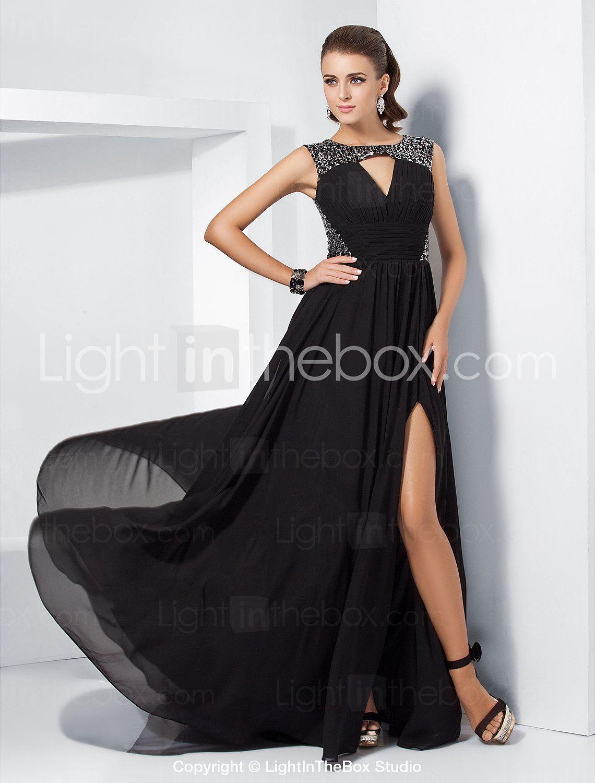 Aline jewel sweepbrush train chiffon evening dress with split