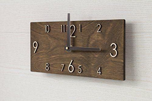 Wooden Wall Clock Handmade Dark Brown Wall Clock Rectangular Wall Clock Modern Wall Clock Scandinavian Clock Wall Decor Rustic Wall Clocks Wall Clock Wooden Wall Clock Rectangular
