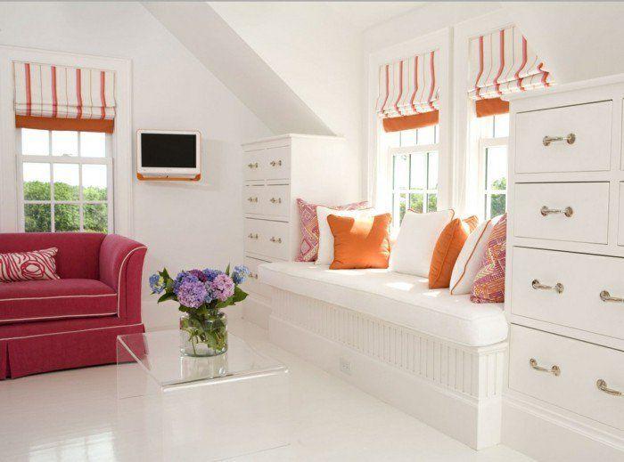 fensterbank wohnideen wohnzimmer dekokissen weißer boden orange - wohnideen für wohnzimmer