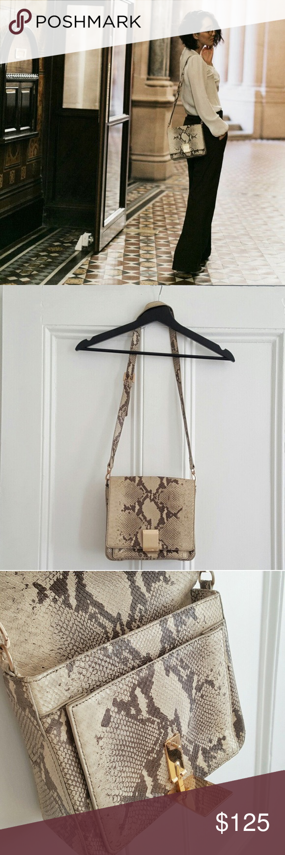🅰️Leather Snake Embossed bag: from known blogger ♦️TEMP SALE from $99 before I post on eboy♦️ $325 Snake Embossed shoulder bag from a prominent blogger and big Korean brand. It's an excellent shoulder bag that has scratches on the metal plate and priced accordingly. You can also make it a crossbody bag but it will ride higher than most. Bags Shoulder Bags