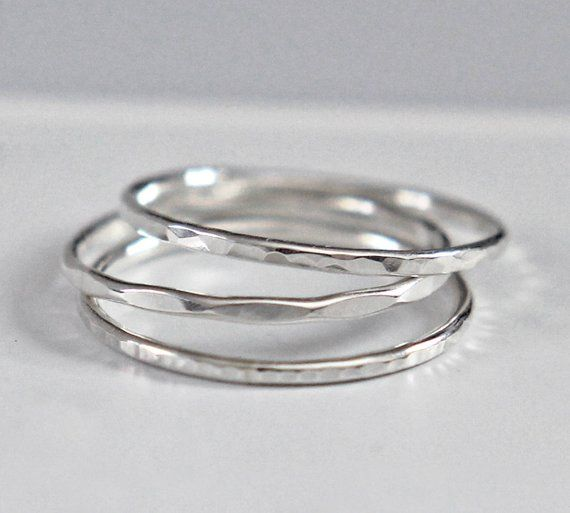 03d25756dcef6 Sterling Silver Stacking Ring, Hammered Silver Ring, Silver Band ...